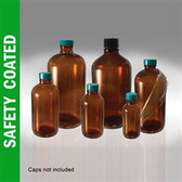 Safety Coated Amber Boston Round, 1 Liter (32 oz) No Caps, case/12