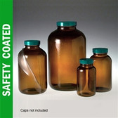 Safety Coated Amber Wide Mouth Bottle, 500mL (16 oz) No Caps, case/12