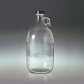 Clear Glass Jug, 2 Liter (64 oz) Black Cap with PTFE Disc, case/6