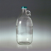 Clear Glass Jug, 2 Liter (64 oz) Green, PTFE Lined Cap, case/6