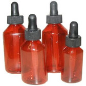 Amber Plastic Dropper Bottles, Round Polypropylene, 1 oz (30mL), case/96
