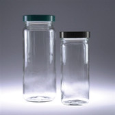 Clear Tall Glass Jars, 16oz, Black Vinyl Lined Cap, case/12