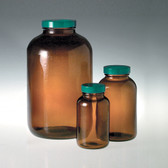 Amber Wide Mouth Packer, 500mL, PTFE Lined Cap, case/12