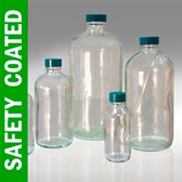 Safety Coated Boston Round Bottle, 8oz, PTFE Lined Cap, case/24