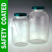 Safety Coated Wide Mouth Bottle, 32oz, Green, PTFE Lined Cap, case/12