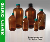 Safety Coated Amber Bottle, 8oz, Green, PTFE Lined Cap, case/24