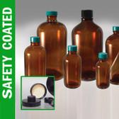 Safety Coated Amber Bottle, 16oz, Black Rubber Lined Cap, case/12