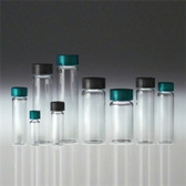 Glass Vials, Clear Screw Top, 10 dram, Black Vinyl Lined Cap, case/144