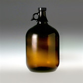 Amber Glass Jug, 4 Liter (128oz) Black Cap/, PTFE Disc, case/6