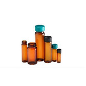 Glass Vials, Amber Screw Top 5 dram, Black Cap/, PTFE Disc, case/144