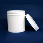White Polypropylene Jar, Unlined PP Caps, 16 oz, case/48