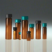 Glass Vials, Amber Screw Top, 10 dram, Black Cap/, PTFE Disc, case/144