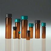 Glass Vials, Amber Top, 5 dram, Black Cap/, PTFE Disc, Cleaned/ Cert, case/80