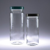 Clear Tall Glass Jar, 16oz, Green, PTFE Lined Cap, case/12