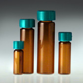 Glass Vials, Amber Screw Top, 15 dram, PTFE Lined Cap, case/72