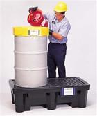 UltraTech 2505 Drum Spill Pallet P2, Economy Model, Drain, Black, 2 Drum
