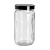 16oz Bottle, Clear Type III, Safety Coated, Black Phenolic Cap, case/12