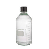 1000mL Media Bottle, Borosilicate Glass, Rubber Lined Cap, case/24