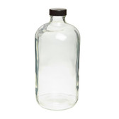 32oz Glass Bottle, Clear, Safety Coated, Polyethylene Cone Liners, case/12