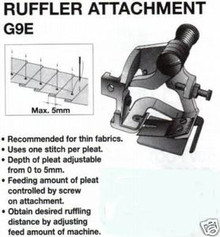 Ruffler Attachment G9E For Single Needle Sewing Machine