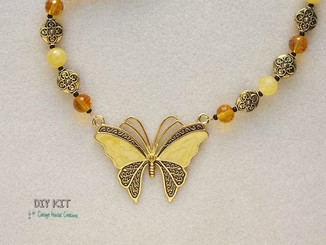 Enameled Yellow Butterly Pendant Necklace Bead Kit