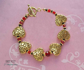 Scarlet Heart ~ Valentine's Bracelet Jewelry Making Bead Kit