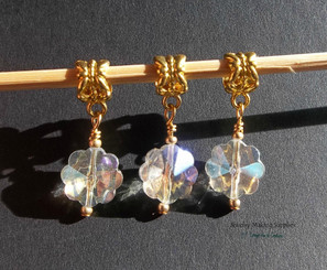 Snowflake Glass AB Golden Euro Dangles European Charms