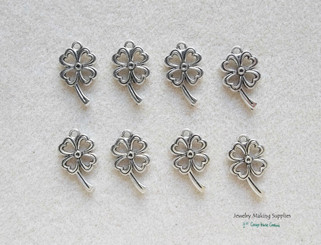Double Edged Shamrock Clover Leaf Lead Free Pewter Charm for DIY