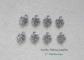 Pierced 4 Leaf Shamrock Clover Lead Free Pewter Jewelry Charm for DIY