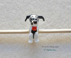 Puppy Dog White with Black Floppy Ears Lampwork European Large Big Hole Euro Bead