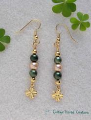 Gold Clovers 4 Leaf Shamrock Earring Bead Kit