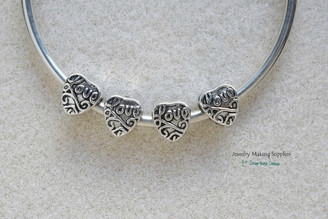 Love Worded Filigree Heart Beads for European Large Big Hole Euro Style