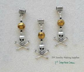 Jolly Roger Pirate Caribbean Skull Crossbones Euro Charm Dangles 3pc