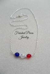 Patriotic Minimalist Layer Silver Necklace  Finished Pieces