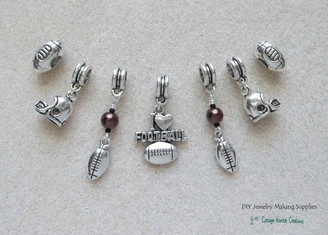 7pc. Football Charms Large Big Hole Euro Dangle Charms