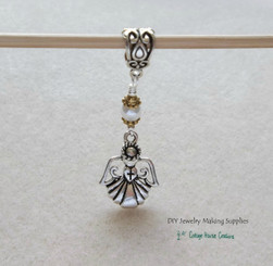 Cross in a Heart Holding Angel Large Hole Euro Charms 3pc.