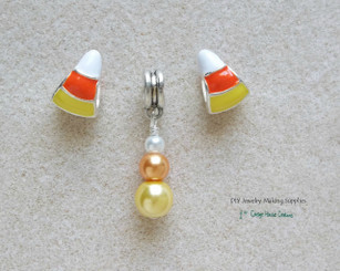 Candy Corn Bead Charms Large Big Hole European Bead Dangle Charms 3pc set