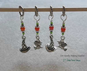 Witches and Magic Hats Large Hole European Bead Dangle Charms 4pc Set