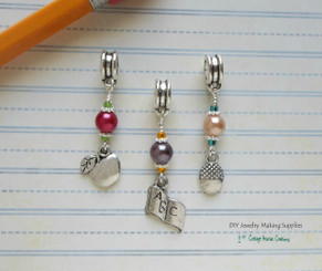 School Teacher Student Charms Set 3pc Large Hole European Bead for Charm Bracelets