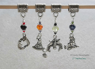4pc European Halloween Witch Vampire Bat Merlin Charm Set