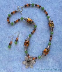 Indian Summer ~ Flower Pendant Beaded Necklace & Earring Kit with Instructions