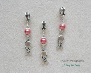 Pink Ribbon Awarness European Bead Charm Dangles 3pc set