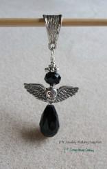 Black Angel Crystal Teardrop Pendant Goth Biker Mourning