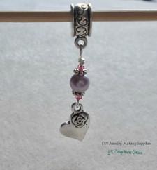 Lavender Rose Heart Beaded Charm Dangle for Bracelets