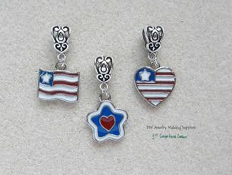 European Dangle  Charm Patriotic July 4th Enameled Flag Heart Star