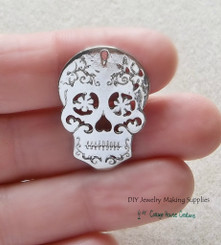Sugar Skull Charm 4pc for DIY Jewelry Making Lead Free Pewter Flowering Skull Day of the Dead Dia de los Muertos