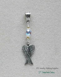Folded Angel Wings Crystal Beaded Charm Focal Protection Pendant Slider Bail