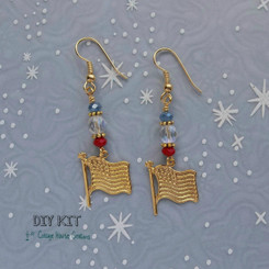 American Flag ~ Patriotic Beaded Jewelry Making Earring Kit with Instructions