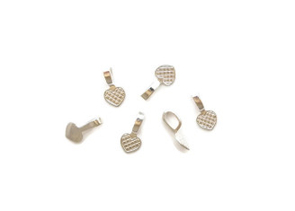 Bright Silver Glue on Heart Bails
