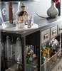 Antiqued Nickel Industrial Bar Serving Cart- Black
